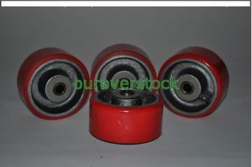 "Picture of 4"" x 2"" Polyurethane on Cast Iron Roller Bearing Wheel - SET OF 4 (#111920810802)"