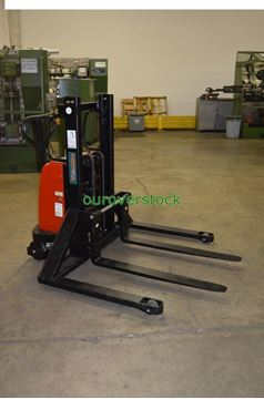 "Picture of Battery Lift Manual Push Straddle Stacker 2,200 lb 36"" lift height (#112239349146)"